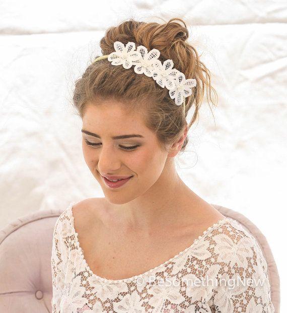 Lace Wedding Headband, Wedding Hair Accessory, Bohemian Lace Daisy Headband, Boho Bridesmaids Hair, Wedding Headpiece