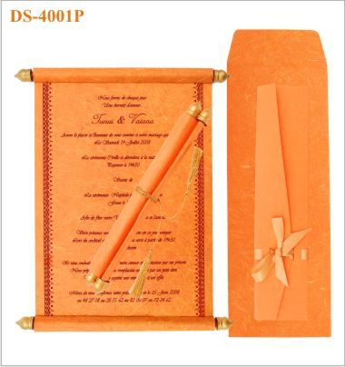 Scroll Wedding Invitation In Tangerine With Gold Tassel