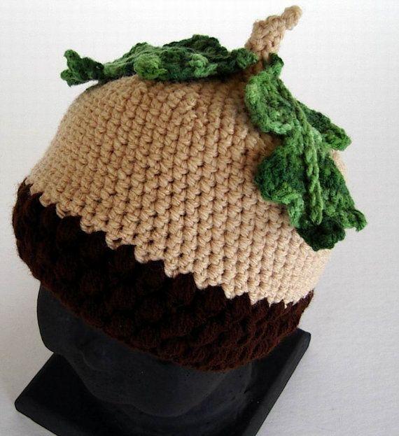 Infant Größe Baby-Hutmutter Häkelarbeit-Hut mit Eiche durch AllKindsofArt