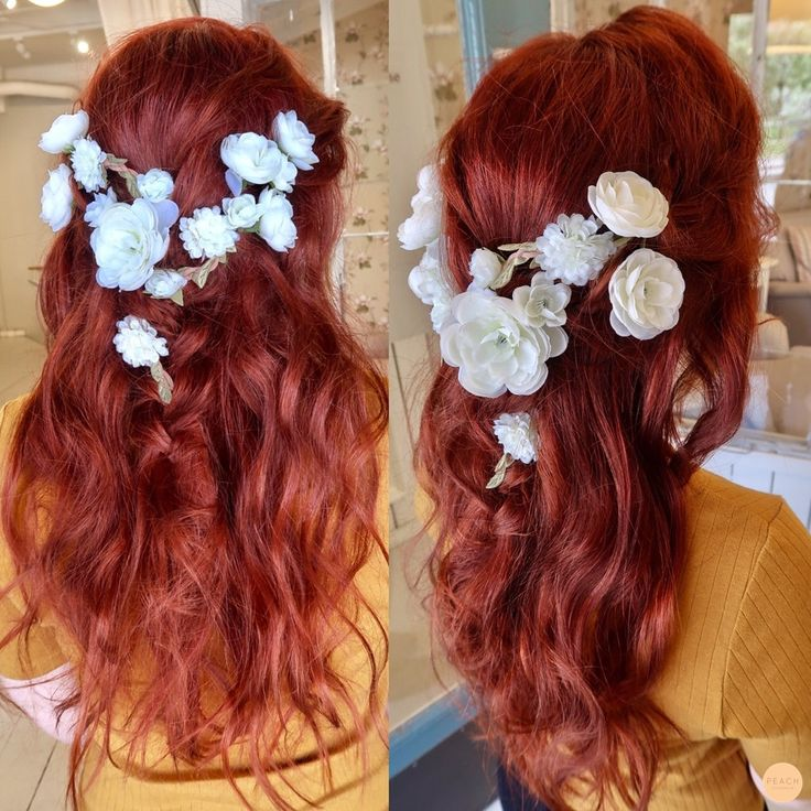 Summer copper hair with flowers