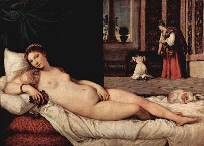 Titian's Venus of Urbino, (1538) The model for the painting was Angela del Moro, a highly paid Venetian courtesan and a companion of Titian's.