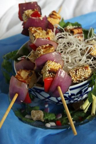 Tofu Satay with Crispy Vermicelli Noodles | Made Just Right by Earth