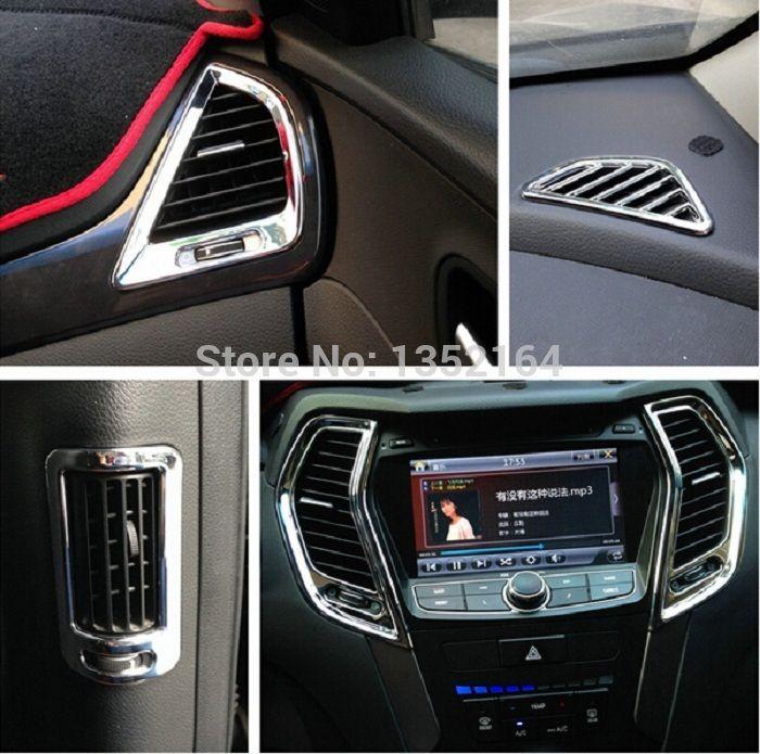 Авто интерьер литье, внутренняя воздушник trim для hyundai ix45 санта-фе 2013-2014, ABS хром, автоаксессуаров
