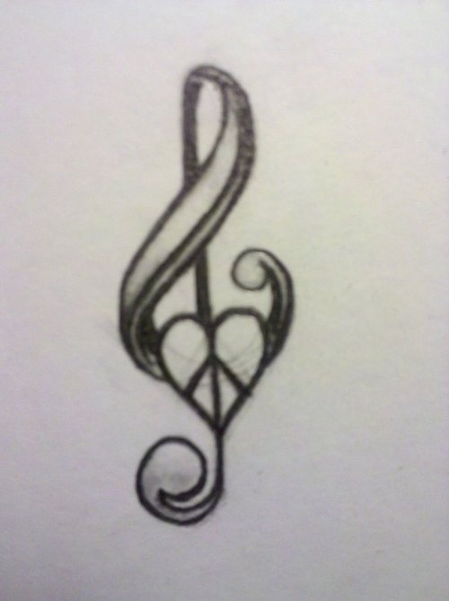 Music note and peace sign tattoo | Art ideas | Pinterest ...