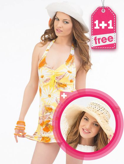 Πακέτο προσαφοράς 1+1 Beach φόρεμα• Ελαστικό• Με ενίσχυση• Δένει πίσω• Διαθέτει φόδρα κάτω απο το στήθος• Το κάτω μέρος είναι σαν μπικίνι• Φλοράλ• Διακοσμητική κορδελίτσα μπροστά  ΔΩΡΕΑΝ Γυναικείο καπέλο• Μοντέρνο σχέδιο• Κορδέλα μπροστά• Είναι κατάλληλο για την καλοκαιρινή περίοδο