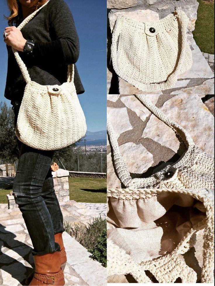 Crochet Shoulder Bag, Handmade Crochet Pattern, Knitting Bag, Ivory Crochet Bag, Women Handbag, FemiGR Handbag, Handmade Shoulder Bag, Boho by FeMiGR on Etsy