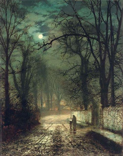 1874John Atkinson Grimshaw(English 1836-93) ~A moonlit lane: Artists, Grimshaw 18361893, Atkinsongrimshaw, Beautiful, Pictures, Moonlit Lane, Johnatkinson, John Atkinson Grimshaw, Painting