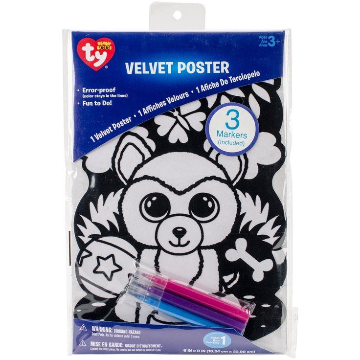Darice Beanie Boo Black Velvet Coloring Poster 1/Pkg-Dog - dog