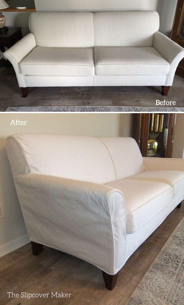 Custom Fit White Denim Slipcover Sofa