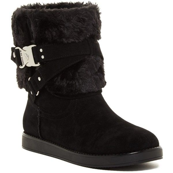 G by GUESS Ashlee Faux Fur Boot ($37) ❤ liked on Polyvore featuring shoes, boots, buckle shoes, g by guess shoes, slip-on shoes, fleece-lined shoes and buckle boots