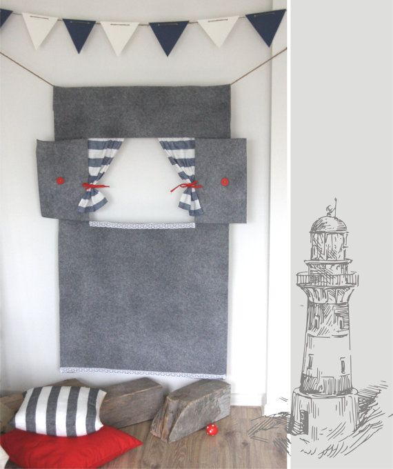 Doorway puppet theater Grey lighthouse by StripedCoast on Etsy, $79.00