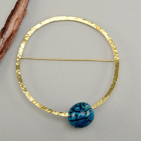 Large circle brooch navy bead pin blue stone by ColorLatinoJewelry