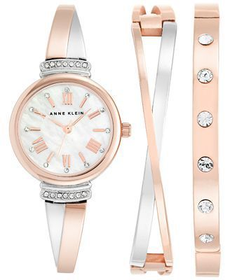 Anne Klein Watch and Bracelet Set in Rose Gold. A beautiful gift that will be used every day. #Gifts #giftguide #PBMGiftGuide #PoweredbyMom #PoweredbyMomGiftGuide #giftideas #gifts #giftsforher #watch #watchset #AnneKlein #bracelet