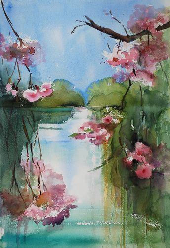 Aquarel Landschap met Kersenbloesem-Joke Klootwijk te koop, maat 55 x 37 cm, email mij vrijblijvend