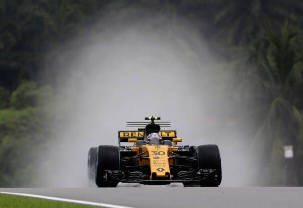 Jolyon Palmer of Great Britain driving the Renault Sport Formula One Team Renault RS17 on track during practice for the Malaysia Formula One Grand...