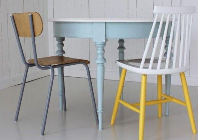 Peindre les pieds de la chaise en formica en jaune