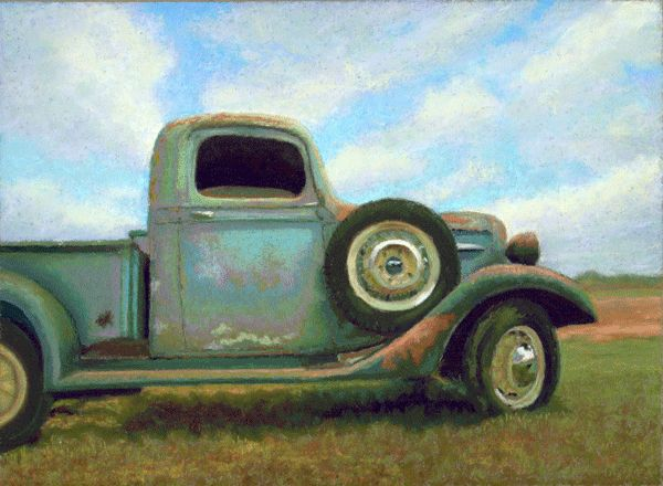 "Old Pickup Truck Pastel Painting by Poucher. ""Off the Road"""