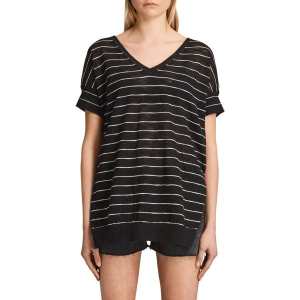 AllSaints Brook V-Neck Jumper (635 DKK) ❤ liked on Polyvore featuring tops, sweaters, short sleeve v neck sweater, breton stripe sweater, v neck sweater, striped jumper and striped top