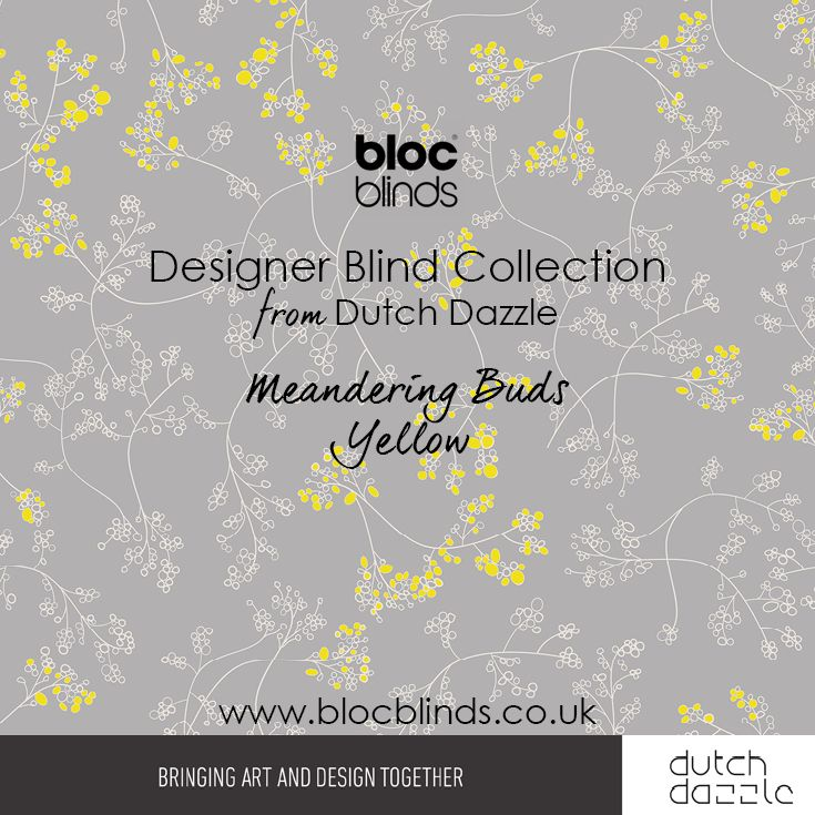 'Meandering Buds Yellow' Designer Blind Fabric. Order Made to Measure Designer Blinds Online. Made in the UK. Award Winning Innovation. Be Inspired. www.blocblinds.co.uk