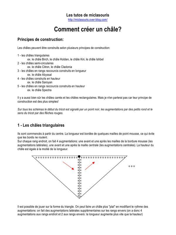 Sylvie, hier, me disait qu'elle aimerait bien créer un ch âle... Alors je lui ai concocté ce petit tuto. J e le mets sur mon blog afin qu'il puisse servir à d'autres! Ce tuto explique les principes de construction de 5 sortes de châles: les triangulaires,...