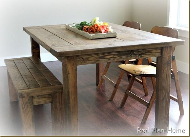 Diy dining room table with 2 8 boards woodworking for Dining room table plans