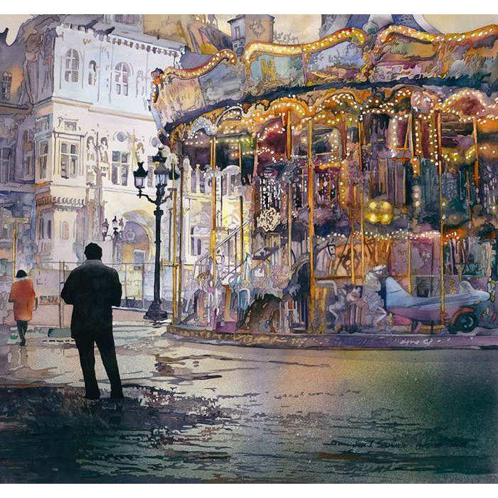John Salminen watercolor painting: Carrousel de Paris