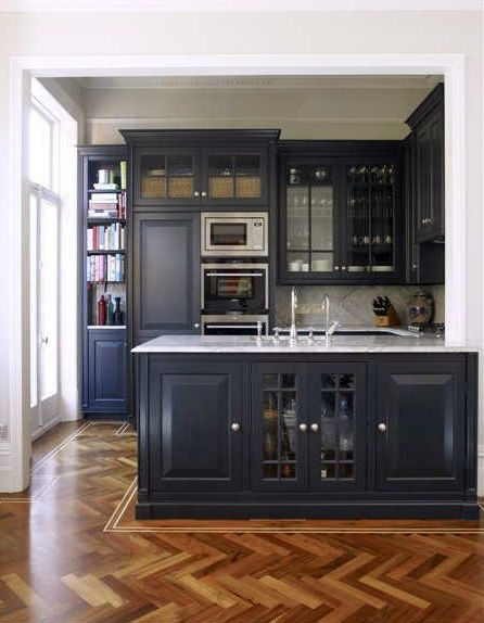 Navy cabinetry, killer herringbone floors with border inlay - bespoke kitchen by Holloways of Ludlow