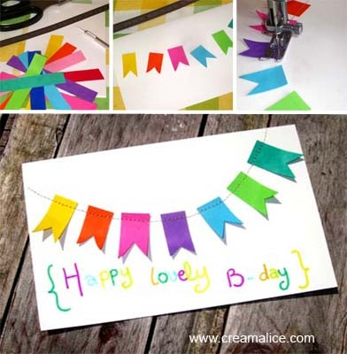 ¨°o.O Carte d'Anniversaire Guirlande Fanions / DIY Birthday Card O.o°¨  www.creamalice.com