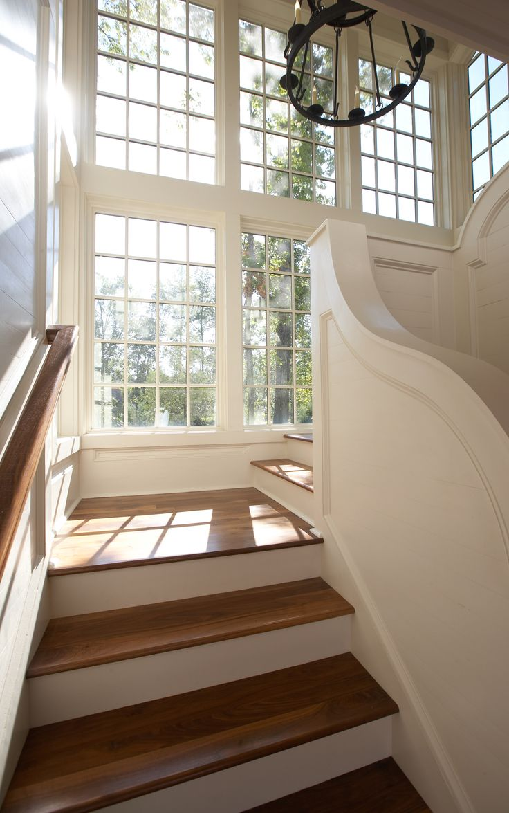 amazing staircase with huge gorgeous windows!