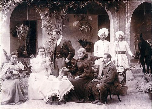 Afternoon tea, Bombay 1897. British Colonial Rule in India. the history of Colonialism and Great Britain