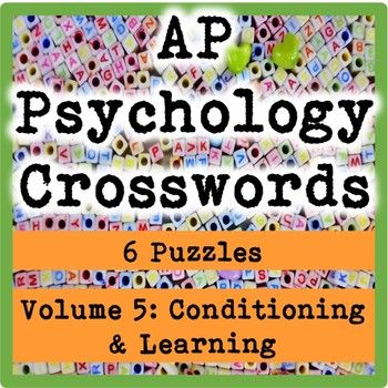 These high school (AP or general) psychology crosswords make wonderful vocabulary reviews for students. This pack consists of six crossword puzzles highlighting classical conditioning, operant conditioning, social learning, cognitive processing in learning, memory, language, cognition, problem solving, and creativity.