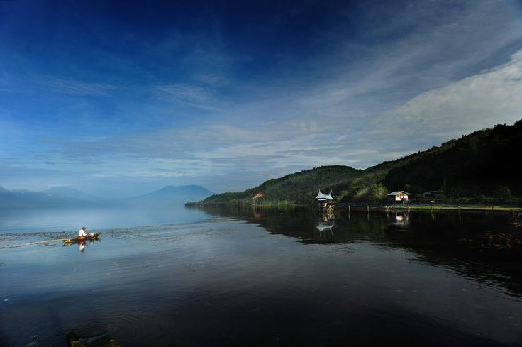 Singkarak Lake at the morning. This lake located at West Sumatra Indonesia