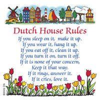 "Dutch Kitchen Magnet ""Dutch House Rules"""