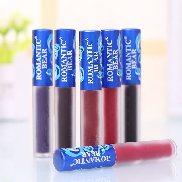 Newest #12 Colors Unicorn Matte Lip Gloss Romantic Bear Blue Package Makeup Lip  #RomanticBear