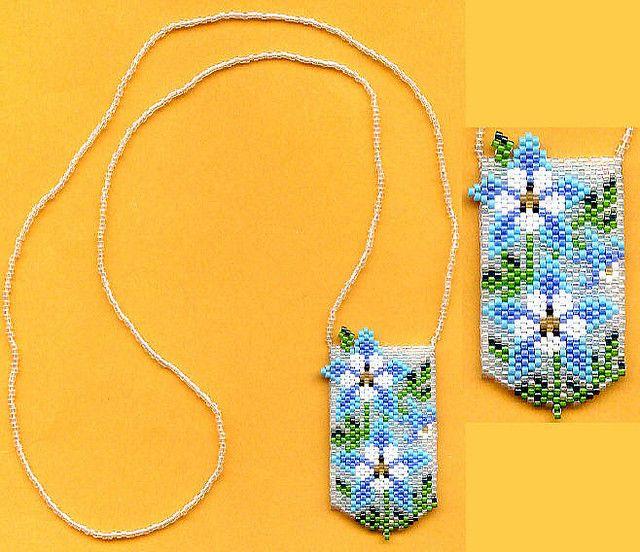 Columbine Flowers Beaded Necklace