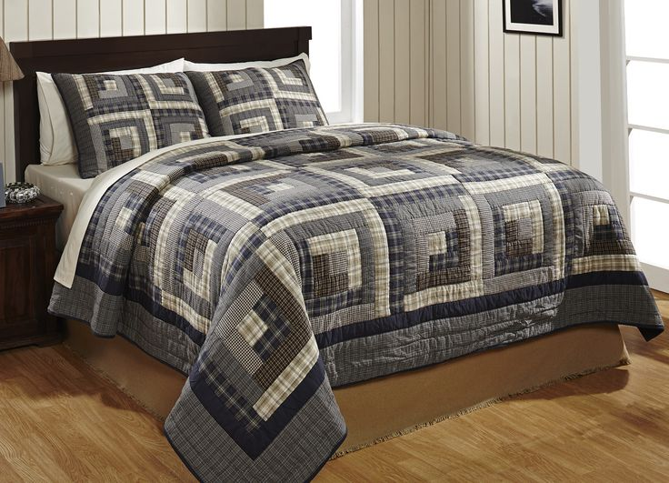 Twin Log Cabin Quilt Set