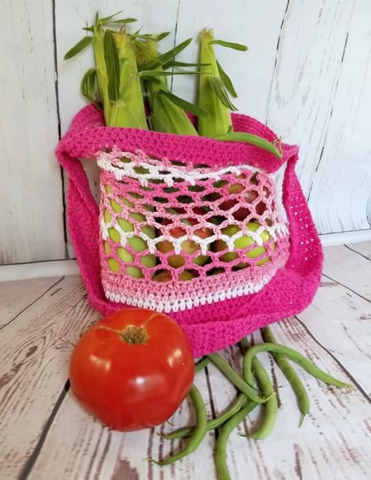 PINK Market Bag   Stock up at the farmers market or grocery store with this handy reusable 100% cotton lightweight market bag. The stretchy mesh pattern provides room for all your fruits and veggies, while the solid bottom ensures that the smallest items wont go missing. The airy pattern also make this an excellent beach bag!