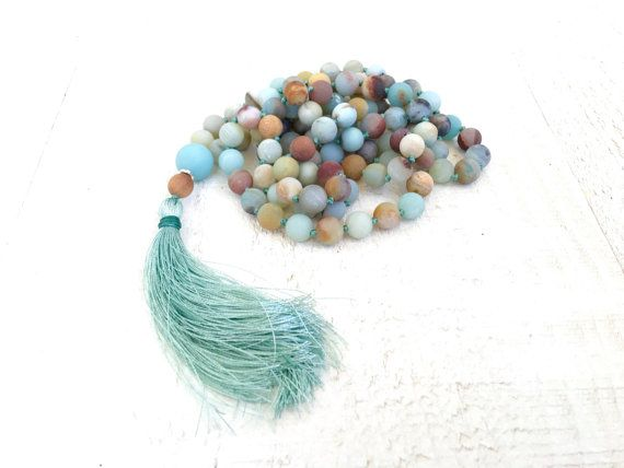 Mixed Amazonite Knotted Mala Necklace Silk by TrueNatureJewelry