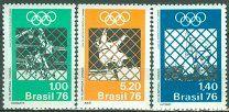 # Бразилия 1976 Michel 1529 - 1531 (CV 20 eur) MH Спорт Олимпийские игры ОИ Баскетбол - 30 р. #  3марки - полная серияБразилия