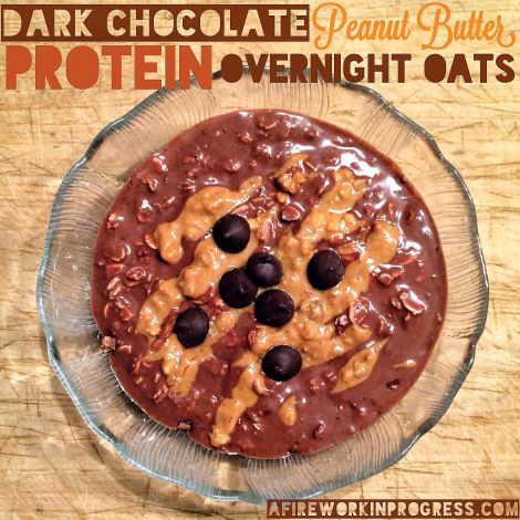 Dark Chocolate Peanut Butter Protein Overnight Oats - A Firework in Progress: Butter Protein, Clean Eating, Dark Chocolate, Oats Recipe, Healthy Recipes, Overnight Oats, Chocolate Peanut Butter, Protein Overnight
