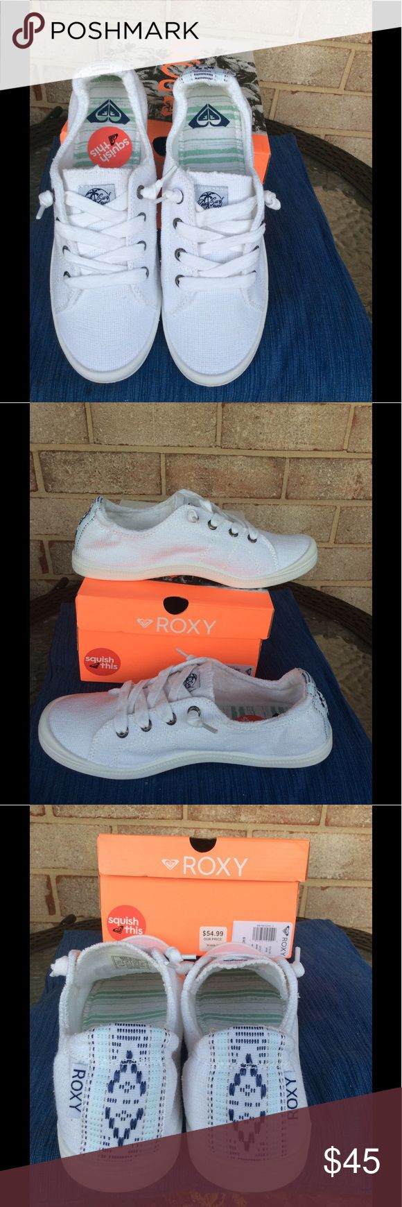 White casual tennis shoes White casual slip on tennis shoe with elastic back. It Has a comfortable cushiony insole. Looks great with dresses, pants, capris or a skirt! Roxy Shoes Sneakers