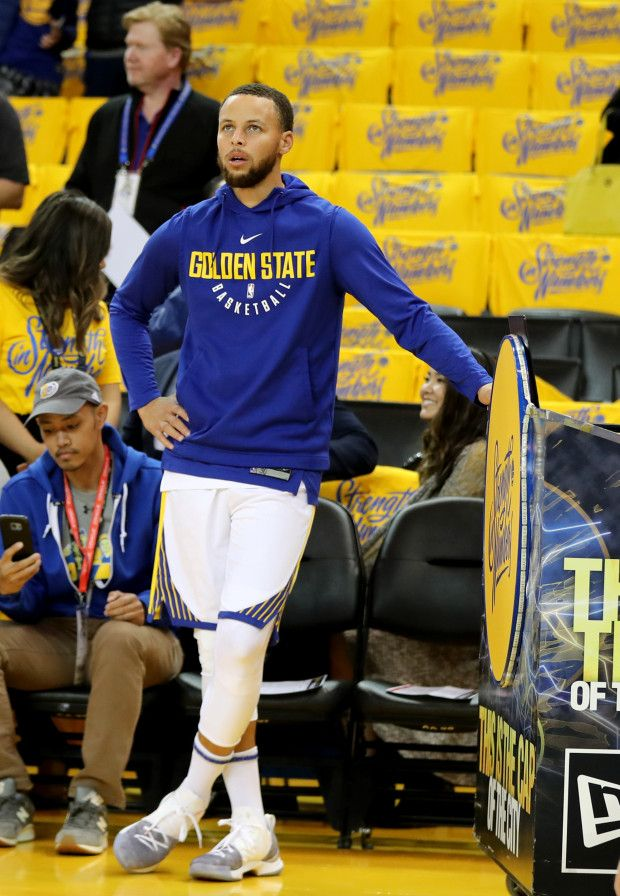 8573d7dc4f9 Golden State Warriors  Stephen Curry (30) rests during warmups before they  take on the New Orleans Pelicans in Game 1 of the NBA Western Conference ...
