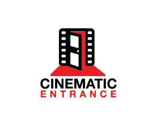 Cinematic Entrance Logo design - Logo design of a door shaped like a film strip.  Price $250.00