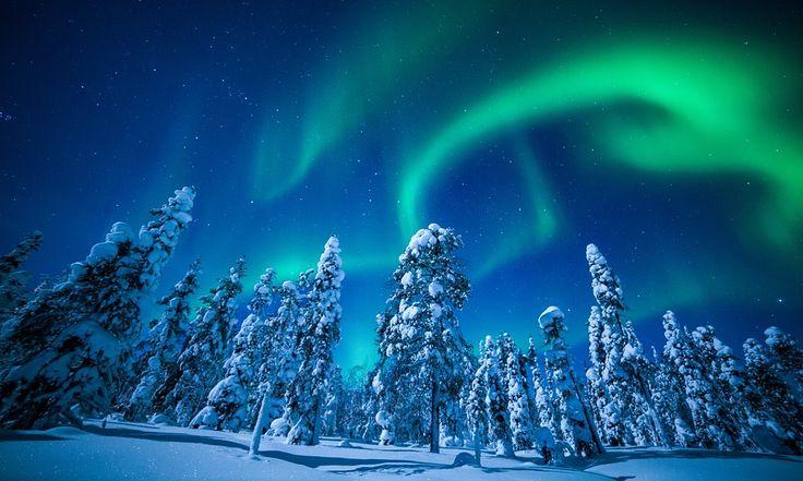 Northern lights at Lake Torassieppi, Finland