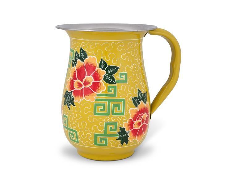 Bonvagon - Sofra-Sunum - El Boyaması Çiçekli Sarı Emaye Sürahi