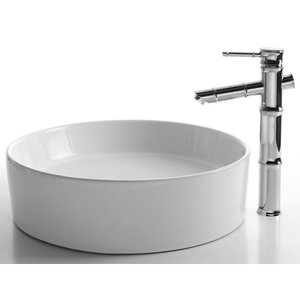 kraus ceramic x round sink in white with bamboo single