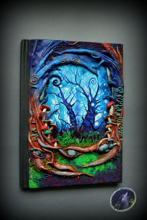 Wonderland Polymer clay notebook/journal por ArtisticVariations84