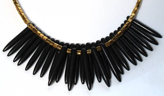 Layered Short Collar Necklace Spike Necklace Black Quill