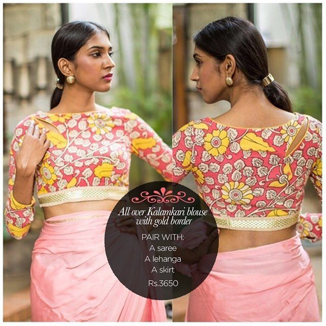 A pretty blouse with flowers & vines in Kalamkari. In feminine colors edged with a gold border and subtle detailing. Be the lovely arty chic one in this! Get yourself a similar one in our READY TO SHOP section OR customise your perfect blouse here: www.houseofblouse.com #houseofblousedotcom #blouse #pink #peach #mustard #yellow #gold #border #cotton #kalamkari #love #readytoshop
