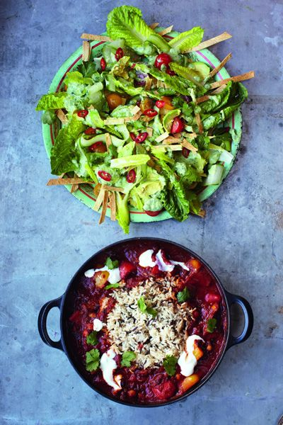 Jamie Oliver's 15 minute meals: Veggie Chili with Crunchy Tortilla and Avocado Salad